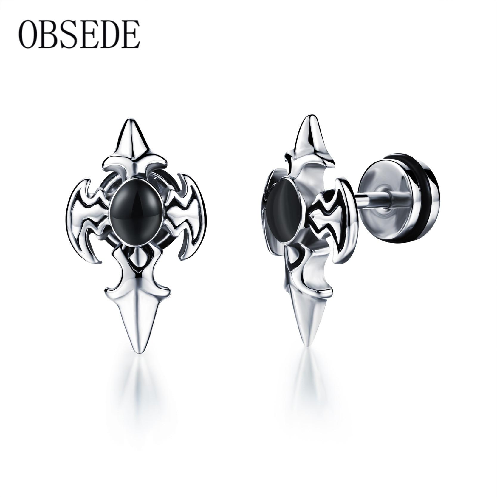 Obsede Vintage Punk Sword Cross Stud Earrings Stainless Steel Earring For  Men Silver Color Black Bead Best Jewelry Gift