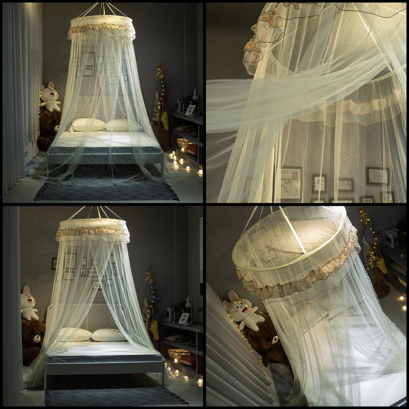IHAD Universal Elegant Mosquito Net Hung Dome Round Lace Ceiling Free Installation Mosquito Nets Polyester Fabric Bedding