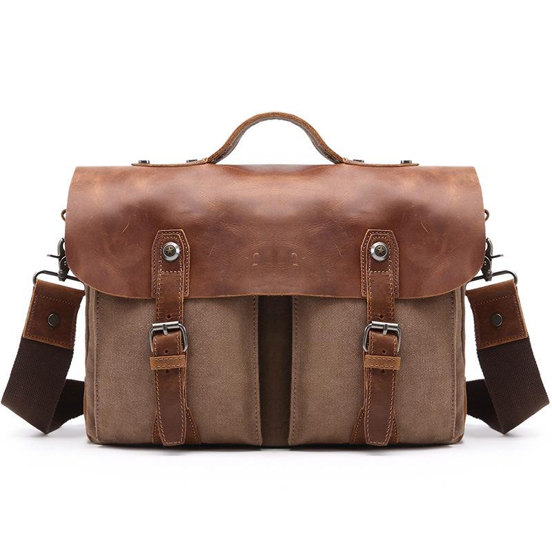 YUPINXUAN Europe Vintage Canvas Handbags for Men Canvas Leather Shoulder Bag Retro Designer Laptop Messenger Bag Male Hand Bag