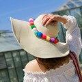 2017 Южная Корея новый Многоцветный леди меховой шарик соломенная шляпа большой пляж летние шляпы для женщин приморский солнцезащитный крем вс шляпу