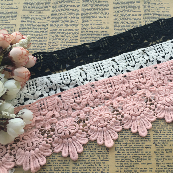 5 YardLot DIY handmade lace trim clothes accessories water soluble  cotton embroidery fabric decoration 10cm wide