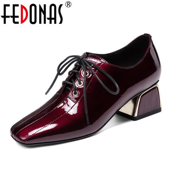 FEDONAS 2019 Women Fashion Retro Strangle High Heels Square Toe Pumps Genuine Leather Single Shoes Cross-tied Party Shoes Woman