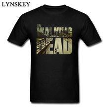 O dead walking funky t-camisa do homem manga curta algodão teesshirt personalizado namorado superior legal preto