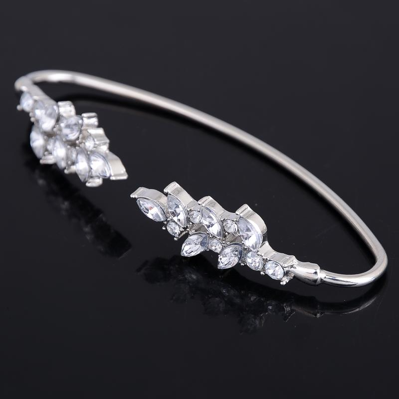 2016 Rhinestone Silver Plated Palm Cuff Leaf Crystal Charm Bangle Geometry Palm Bangles For Women Hand Jewelry