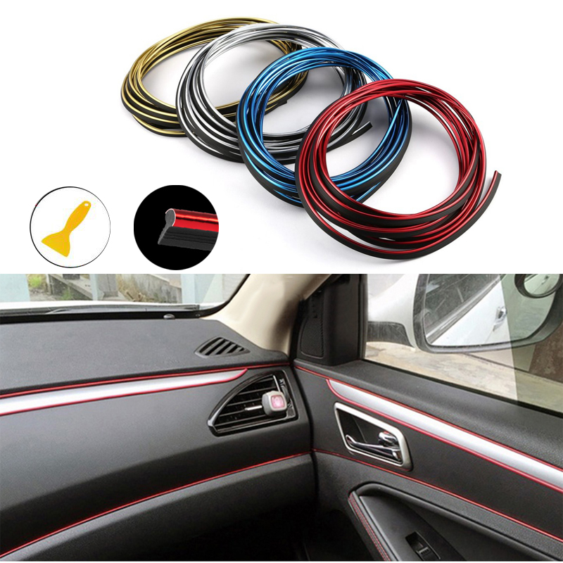Car Mouldings Trim 3D Line Strips Dashboard Door Edge For Toyota Corolla RAV4 Camry Prado Avensis Yaris Hilux Prius Land Cruiser