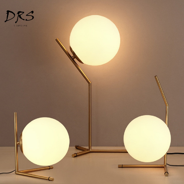 US $72.22 35% OFF|Modern Style Glass Table Lamp Scandinavian Simple Bedroom  Bed Head Creative Decor Round Ball Table Lamp E27 Lamparas Lighting-in ...