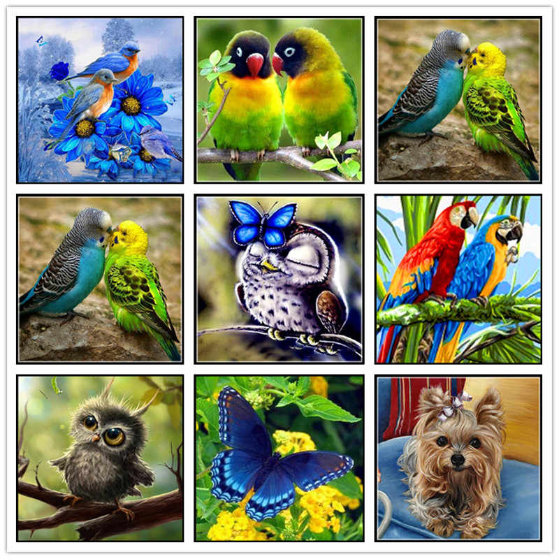 Diamond Painting Cartoon Animal Parrot Owl Bird 5D DIY Diamond Embroidery Set Rhinestone Mosaic Cross Stitch Gift