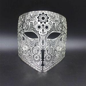 Image 3 - GNHYLL Full Face Bauta Phantom Cosplay Venetian Masquerade Mask Black Skull Halloween Shield Mardi Gras Metal Party Mask