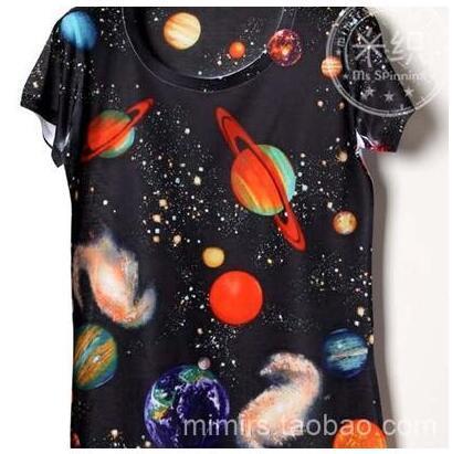 Небо 3D вселенная детская одежда ребенка короткий рукав футболки печать мультфильм мальчик и девочка футболки