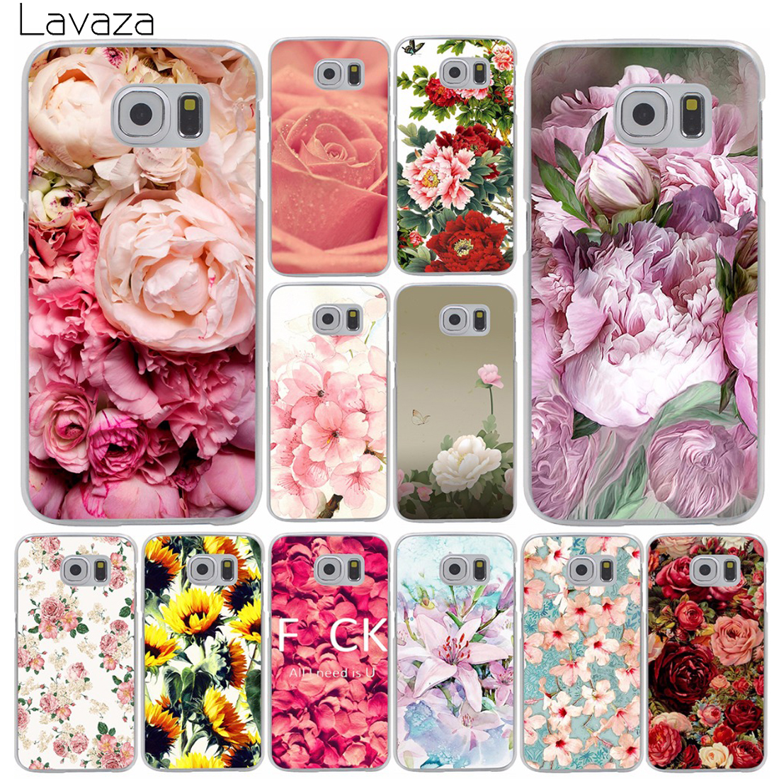 peony Flower Hard Cases for Samsung Galaxy S2 S3 S4 S5 & mini s6 s7 edge plus grand prime A3 A5 A7 A8 Note 2 3 4 5 j5 j7 version