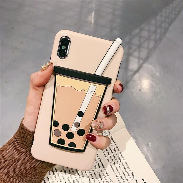 Three-Dimensional Pearl Milk Tea Phone Case
