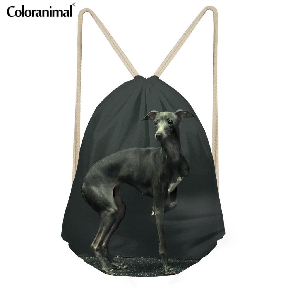 Coloranimal Boy School Small Drawstring Bag 3D Cute Animal Dog Dark Grey Italian Greyhound Print Men's Backpack Bookbag Gym Sack