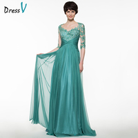 Dressv Green Long Mother Of The Bride Dress A Line Half Sleeves Appliques Beading Pleats Button Sweep Train Custom Mother Dress