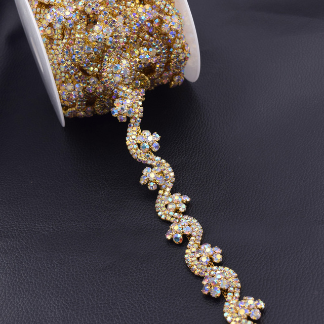 5Yards lot Mulit color gold base exquisite flower rhinestone trim for wedding  dress belt patches appliques sew on chain HF-3237 117aacfd737a