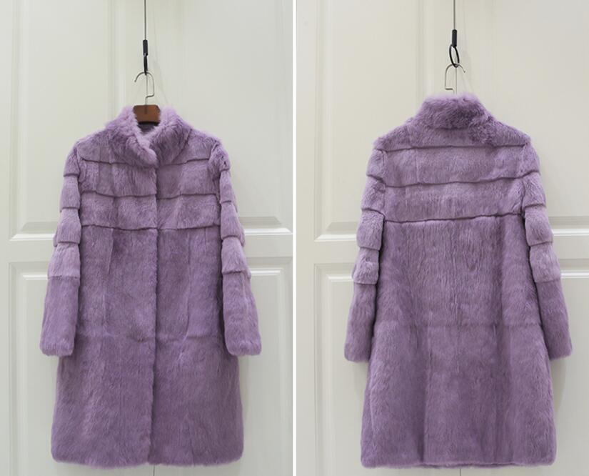 Whole Skin Pure Rabbit Fur Coat Stripe Line Real Fur Jacket For Women Girls Natural Fur Overcoat Customize Plus Size tbsr343 in Real Fur from Women 39 s Clothing