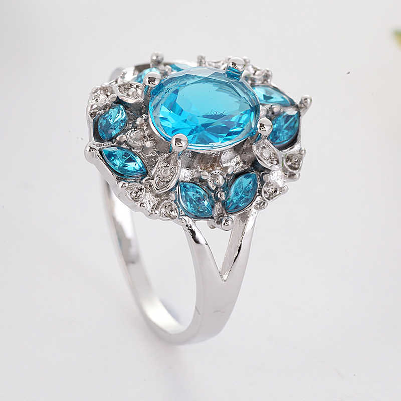 גדול כחול קריסטל טבעות נשים חתונת אירוסין טבעת יוקרה תכשיטי פרח כסף טבעת Bague Femme Anillos Mujer Z3H928