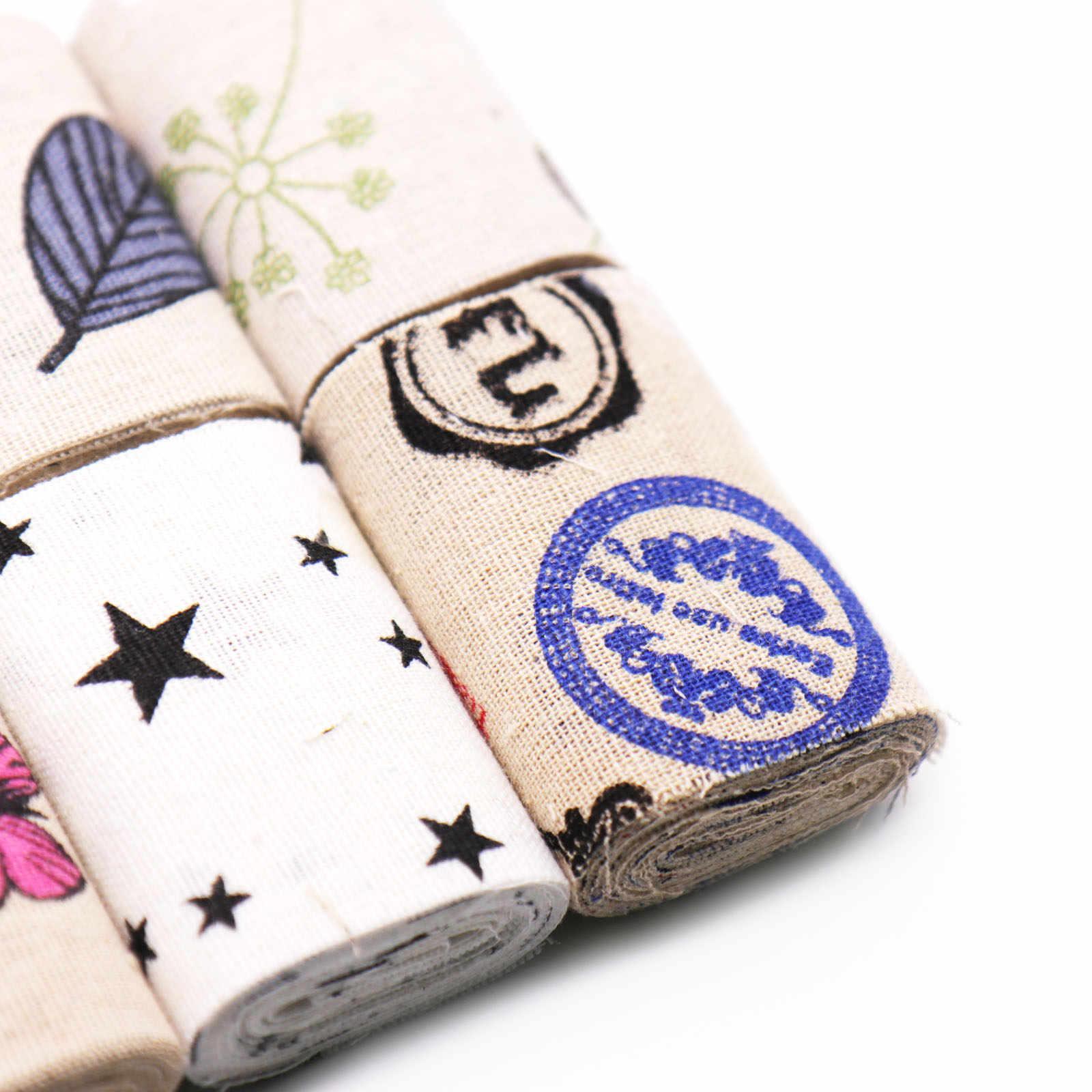 1 rolo 2m padrões engraçados algodão linho tecido estofando retalhos para costura bonecas travesseiro caso artesanato acessório serapilheira artesanato
