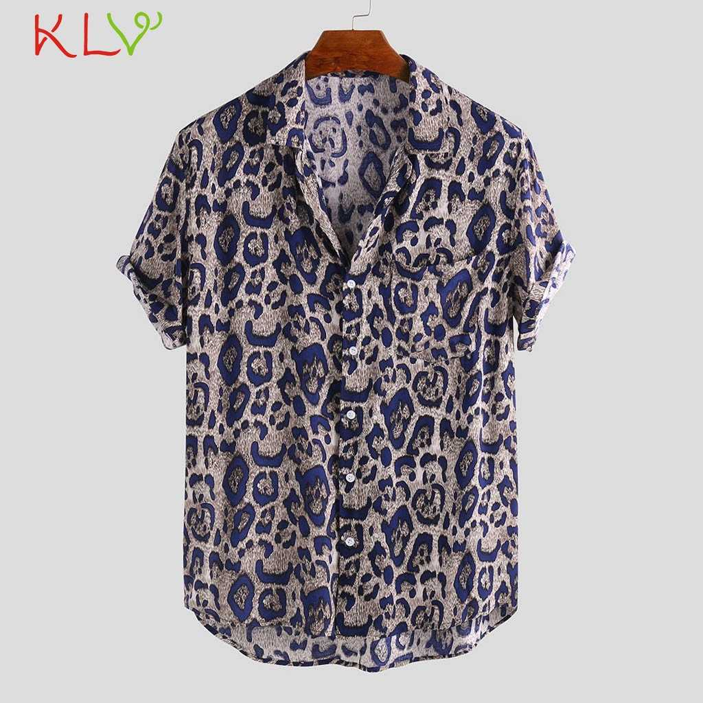 Blouse Shirt Mannen Zomer Luipaard Korte Mouwen met Pocket Print Hawaiian Casual Shirt Harajuku Top Homme Jogging Kleding 19May30