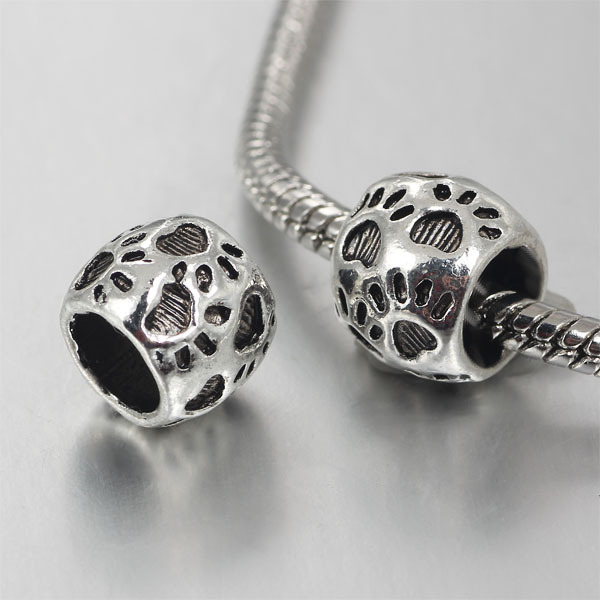 Pandora Jewelry Free Shipping: Free Shipping 1pc Silver Plated Dog Paw Big Hole Bead Fits