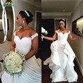 Vestidos exclusivos de Casamento 2017 ruffles destacáveis saia Vestidos de Casamento da sereia frisada lace baratos vestidos de noiva vestidos de novia