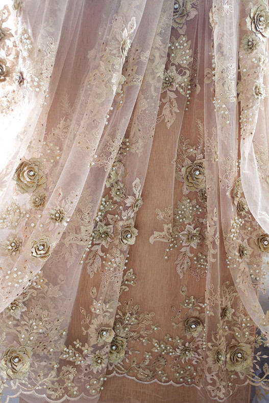 1 yard gold beaded lace fabric by the yard heavy