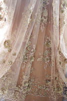 1 yard gold beaded lace fabric by the yard, heavy beads lace fabric bridal wedding beading embroidery haute couture design