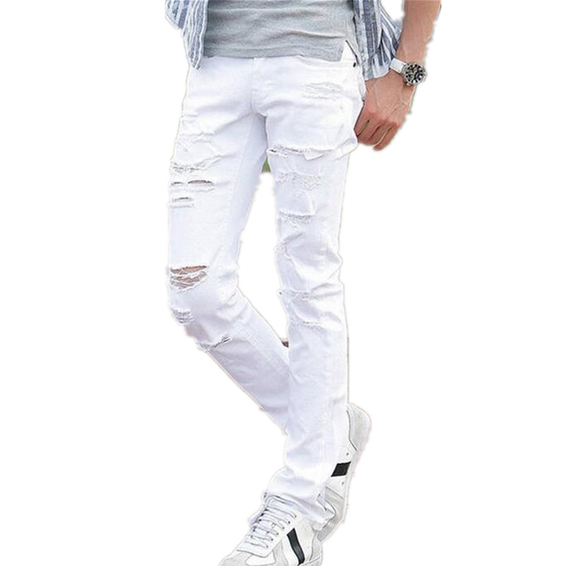 ФОТО Promotion Mid Hot Sell Jeans Men With Holes Super Famous Designer Brand Slim Fit Destroyed Torn Jean Pants For Male Freeshipping