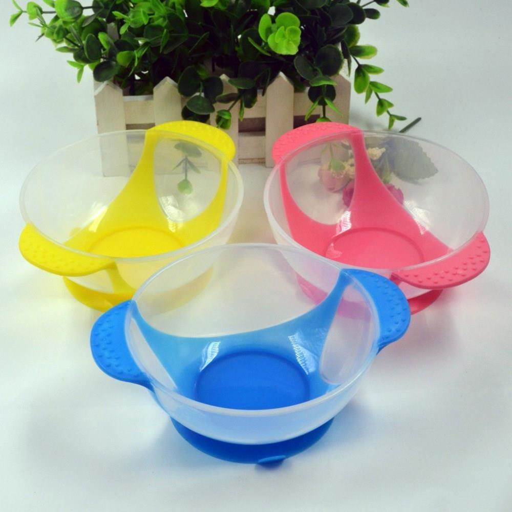 Child Food Bowl Learning Dishes Service Plate/Tray Suction Cup Baby Dinnerware Set Temperature Sensing Feeding Spoon
