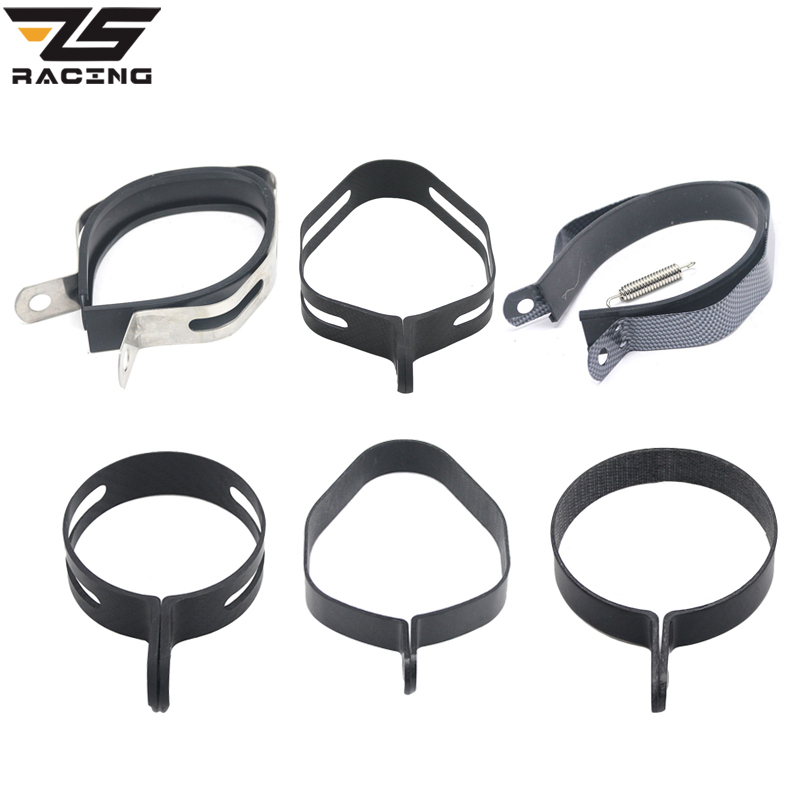 ZS Racing 1pcs Carbon Fiber Stainless steel Holder Clamp Fixed Ring Support Bracket for Motorcycle Exhaust Pipe Muffler Escape
