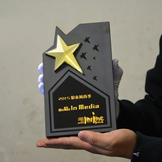 Stars Cube Shape Black Crystal Trophy Customized Logo Or Words Glass Sports Souvenirs Oscar Trophy World Cup Competition Award