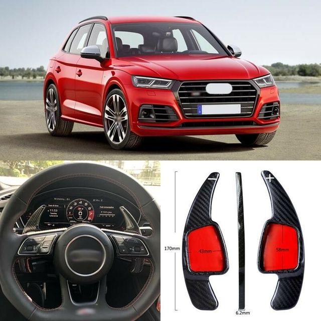 $ 100.57 Carbon Fiber Gear DSG Steering Wheel Paddle Shifter Cover Fit For Audi SQ5 2018/TT 15-18/TTS 16-18
