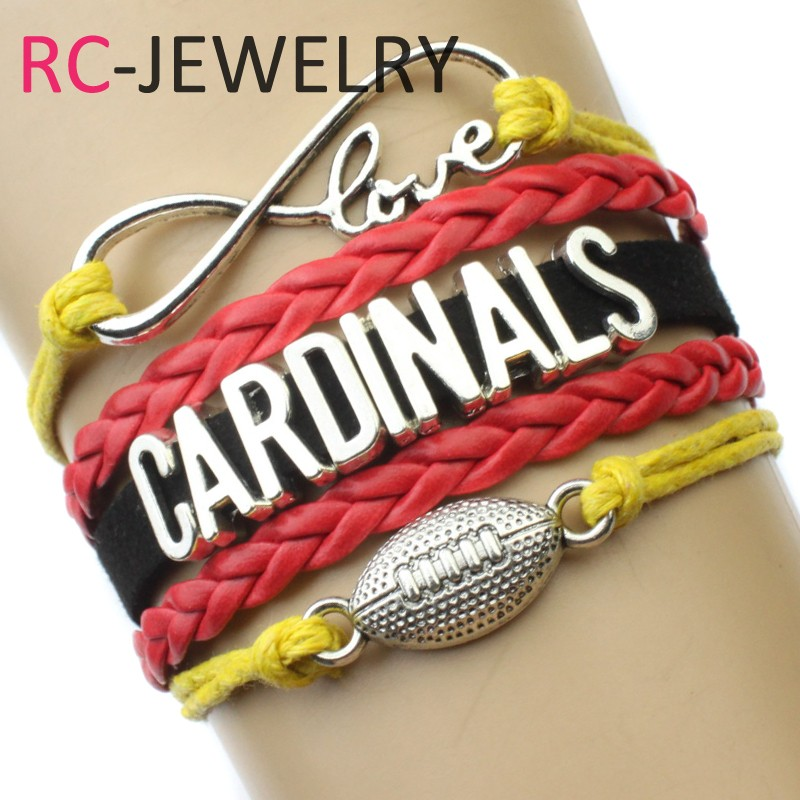 Custom-Infinity Love Arizona Cardinals Football Charm Bracelet Wrap Braided Leather Adjustable bangles For Football
