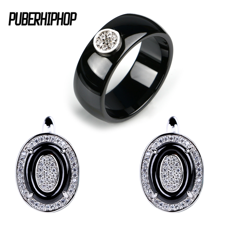 Egg Shape Double Round Earrings Rings Jewelry Set For Women Made of Ceramic Material Stud Earrings Big Width Size Rings Jewelry pair of stylish round alloy stud earrings for women