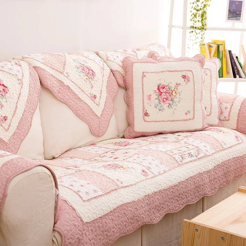 Cotton Patchwork Sofa Covers Cushion  Pastoral Fabric Leather Sofa Pad  Armrest Towel  Bay Window Cushion Cotton Sofa Towel cushion