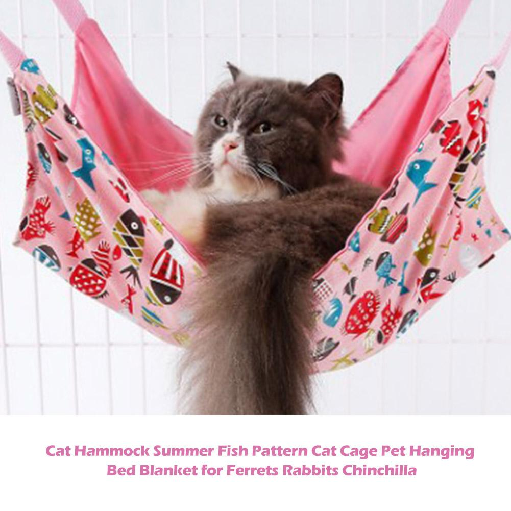 1Pcs Both Sides Cat Hammock Summer Fish Pattern Cat Cage Pet Hanging Bed Blanket For Ferrets Rabbits Chinchilla Pink And Blue in Cat Beds Mats from Home Garden
