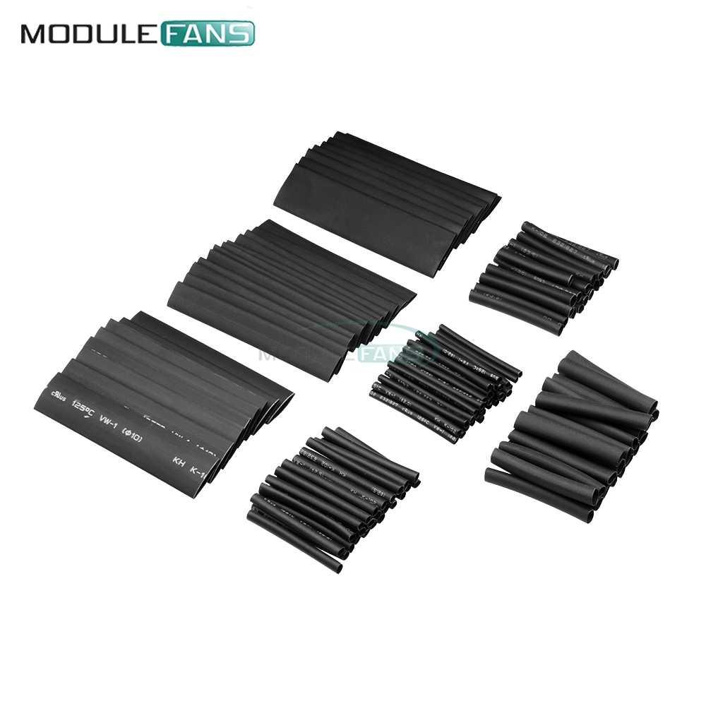 127 шт 7,28 м черный 2:1 ассортимент термоусадочных трубок для автомобильных кабелей, комплект для обертывания, полезные трубки для электропроводов