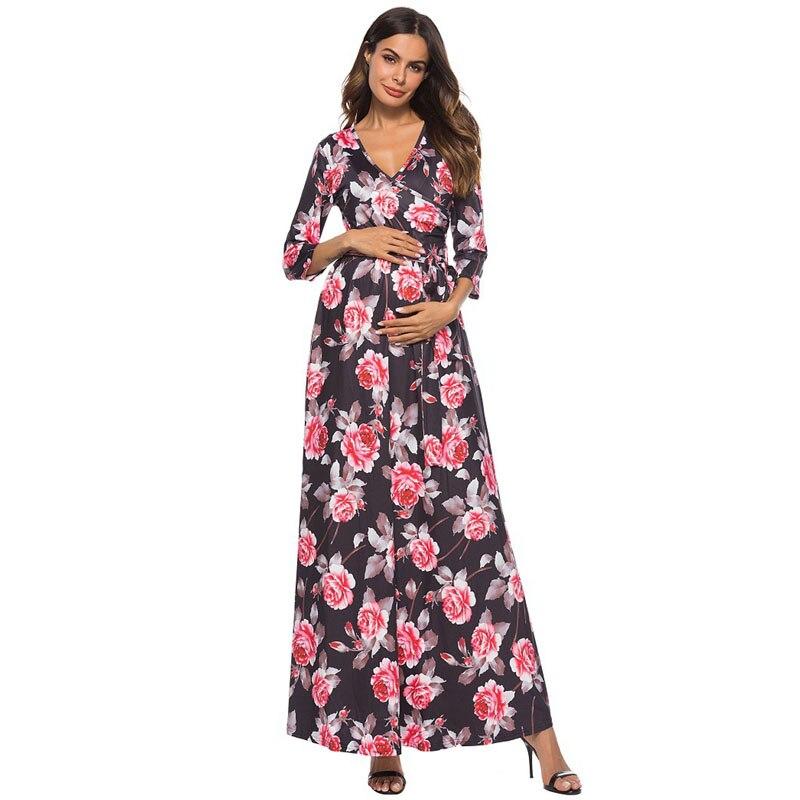С длинными рукавами и рисунком с v-образной горловиной и цветочным рисунком леди платье Одежда для беременных Для женщин Вечернее Беременно...