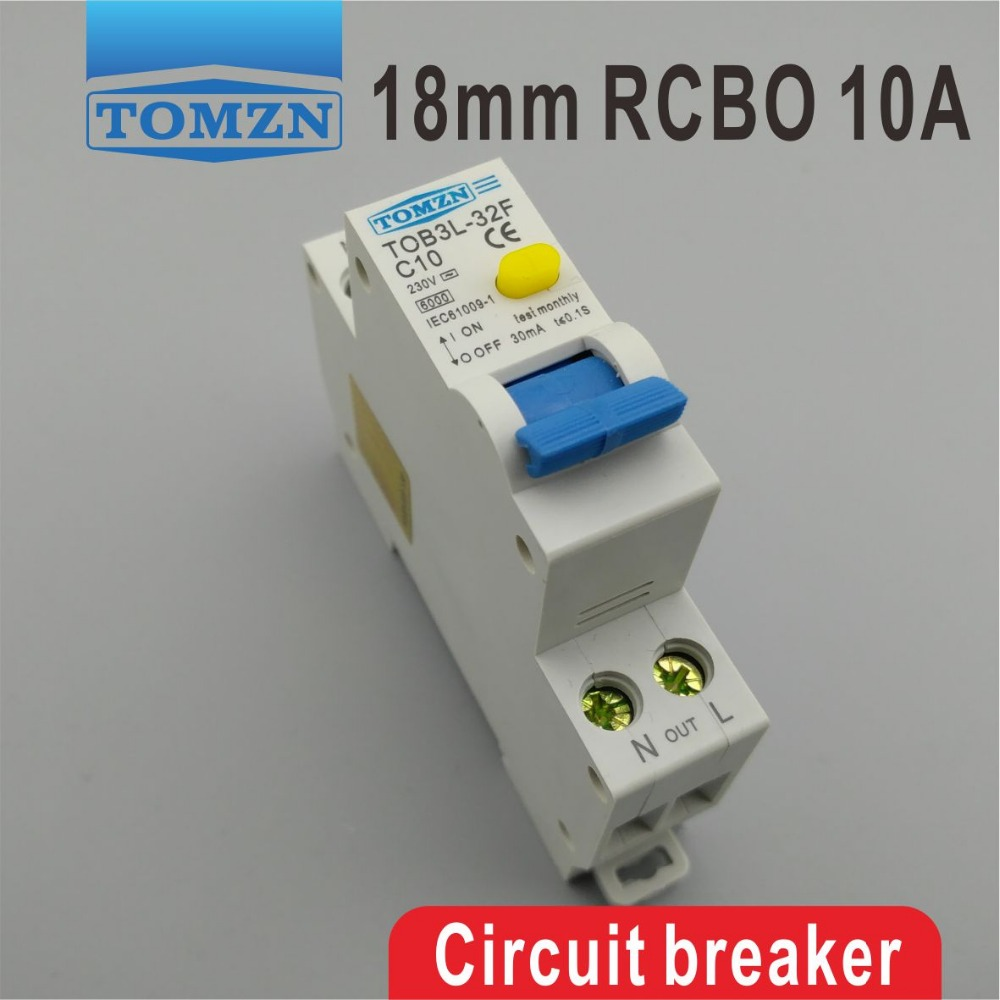 Tob3l 32f 18mm Rcbo 10a 1p N 6ka Residual Current Circuit Breaker Wiring Diagram With Over