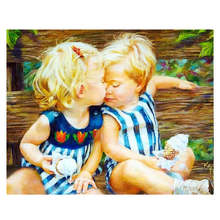 лучшая цена Figure Painting For Living Room Decoration,Intimate Children,Drawing By Numbers Wall Art