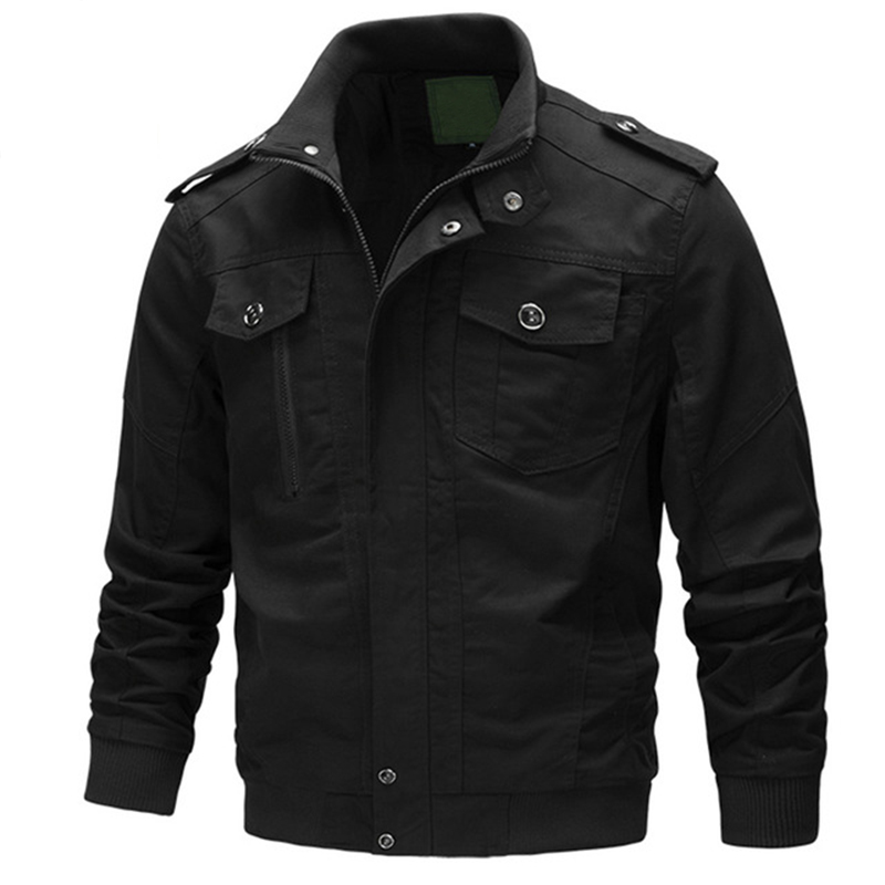 TACVASEN Tactical Cargo Jackets Men Autumn Solid Cotton Casual Jacket Military Army Bomber Pilot Jackets and Coats Plus Size 6XL