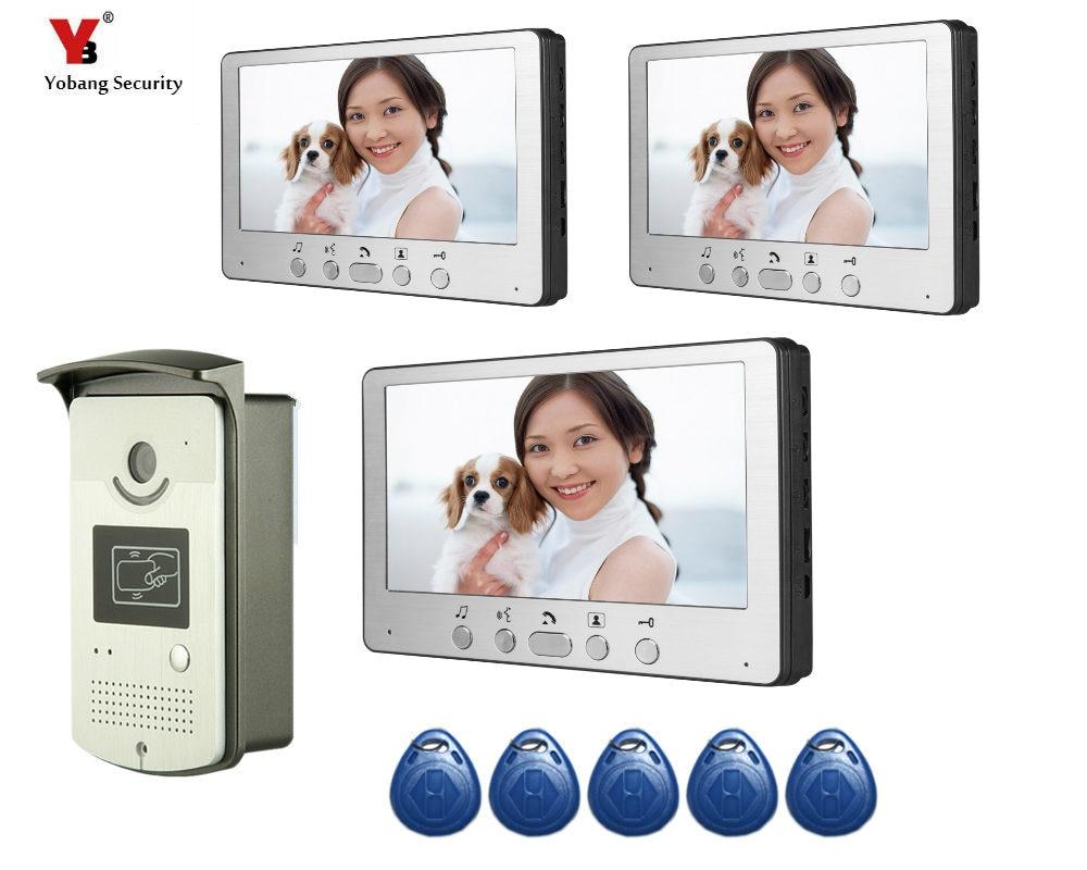 Yobang Security 7 Inches HD Doorbell Camera Video Intercom Door Phone System Security Camera Intercom Door Bell With Monitor