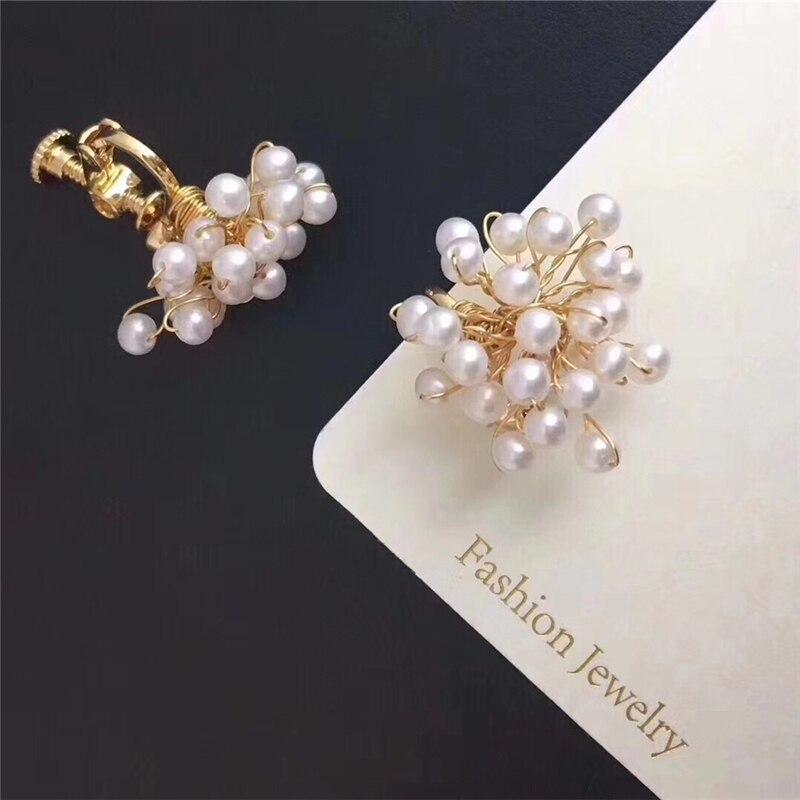 Premier spectacle de haute qualité perle d'eau douce boucles d'oreilles couleur or métal vis-retour tissé à la main perle boucles d'oreilles bijoux femmes cadeau