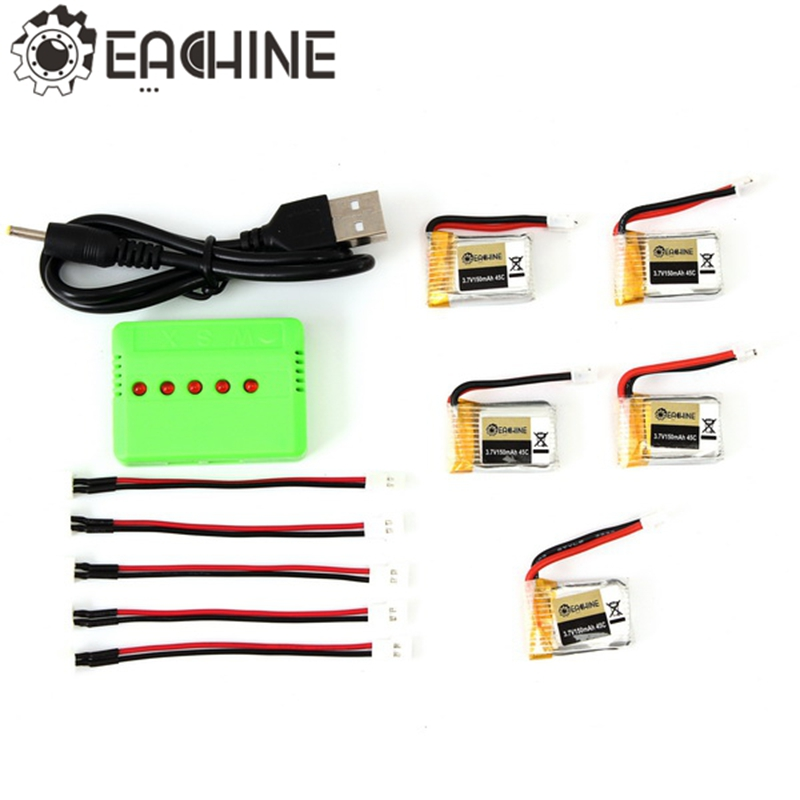5PCS Eachine E010-0006 RC Quadcopter Spares Parts 3.7V 150MAH 45C Upgrade Battery Charger Set new arrival eachine e010 rc quadcopter spares parts frame for rc camera drone accessories toys parts