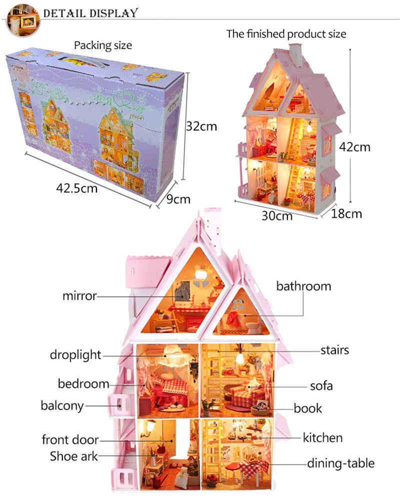 새로운 3D 나무 인형 집 빌라 가구 DIY 미니어처 모델 LED 라이트 3D 나무 인형 집 크리스마스 선물 어린이위한 장난감