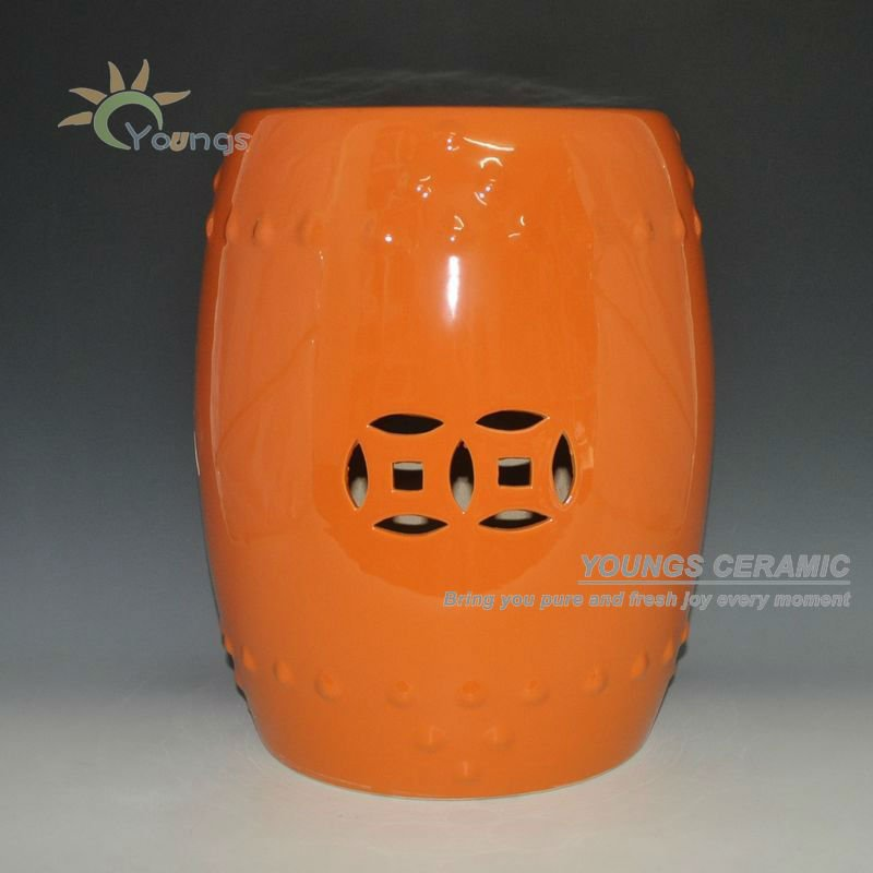 High Temperatured Orange Glazed Chinese Ceramic Garden Stool Seat