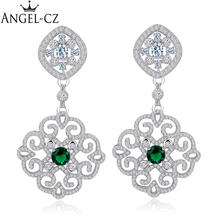 aa92e957ebbb ANGELCZ étnico chino la joyería ahueca hacia fuera diseño Micro Pave CZ piedra  verde partido de