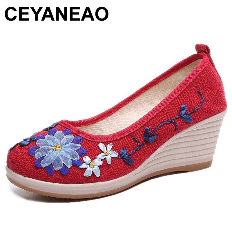 Schuhe Logisch Ceyaneao Chinesischen Frauen Pumpen Leinen Schuhe Vintage Floral Stickerei Tuch Leinwand Keile Ferse Schuhe Frau Plattformen Zapatos Mujer In Den Spezifikationen VervollstäNdigen