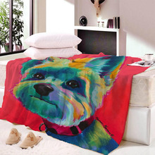 Dog Printing Sherpa Blanket on Beds Kids Cartoon Plush Throw Sofa Cover Rainbow Puppy Thin Quilt Dropship