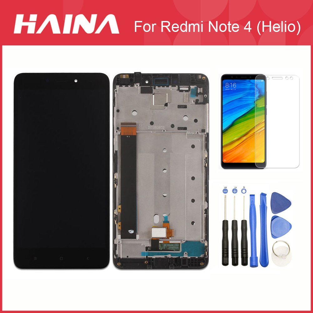 Red mi Note4 LCD China For Xiaomi Redmi Note 4 LCD Screen Display Touch Screen Digitizer Assembly w/ Frame CPU For MTK Helio X20