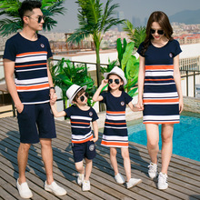 Family matching clothes mother daughter dresses son outfits cotton casual short-sleeve T-shirt family look father baby clothing(China)
